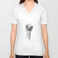ostrich V-neck T-shirts featuring Ostrich by Signe