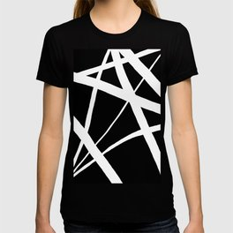 Geometric Line Abstract - Black White T-shirt