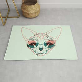 Pastel Green and Coral Sphynx Cat Skull Overlay - Hairless Kitty Double Exposure Line Drawing Rug