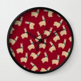 no drama llama Christmas collage Wall Clock