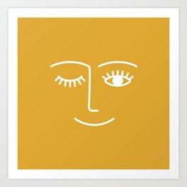 wink / mustard Art Print