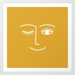 Wink (Mustard Yellow) Art Print