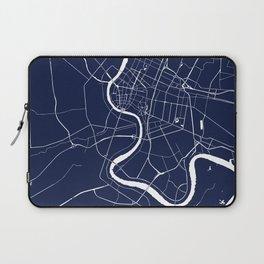 Bangkok Thailand Minimal Street Map - Navy Blue and White II Laptop Sleeve