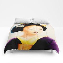 Japanese Geisha oil painting Comforters