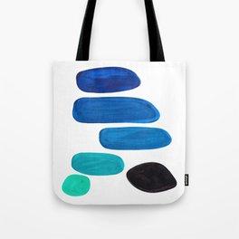 Colorful Mid Century Modern Pop Art Minimalist Style Teal Blue Aquamarine Bubbles White Background Tote Bag