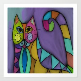 Cat of Many Colors Abstract Digital Painting  Art Print