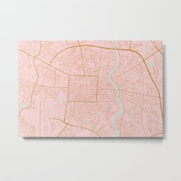Pink and gold Chiang Mai map, Thailand Metal Print