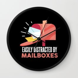 Easily Distracted By Mailboxes For Postal Worker Wall Clock