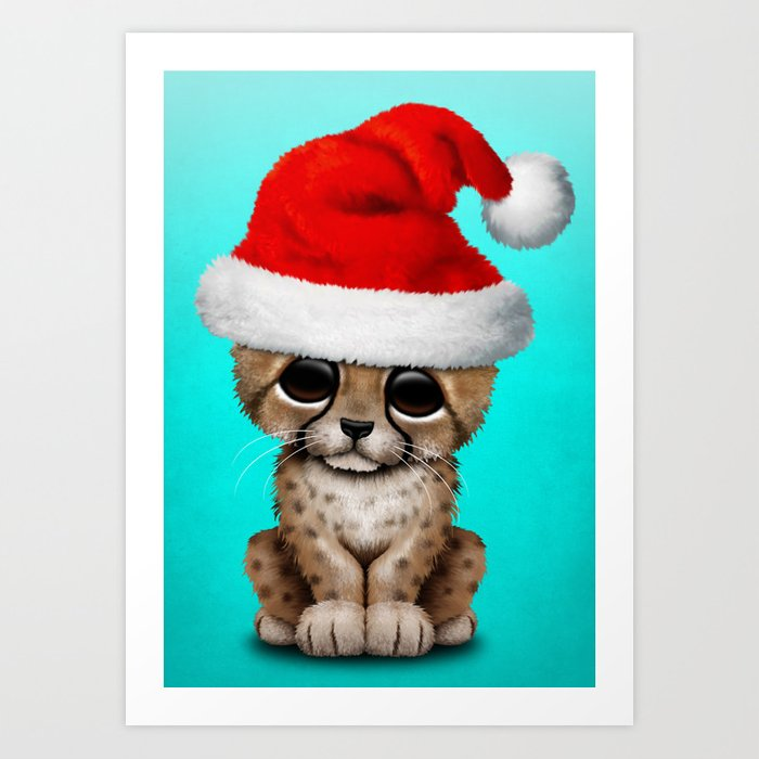 Christmas Cheetah Wearing A Santa Hat Art Print By Jeffbartels Society6