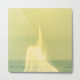 Green Flame, Minimalist Landscape, Mint Abstract Desert, Flame Spirit Metal Print
