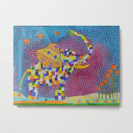 Quilted Elephant Metal Print