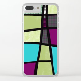 Patchwork in green Clear iPhone Case