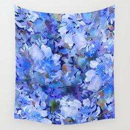 Wild Blue Rose Garden Wall Tapestry