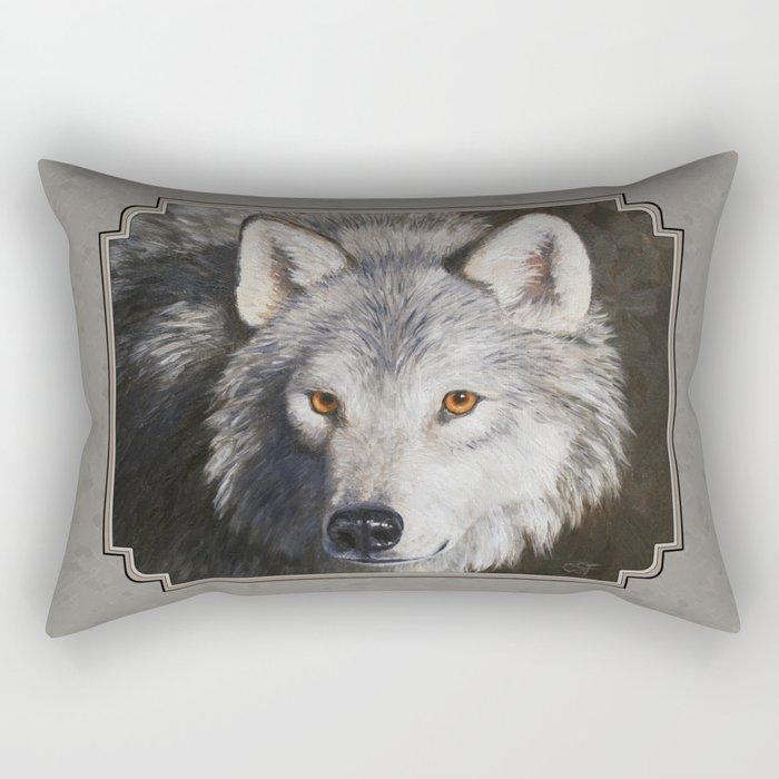 Gray Wolf Face Rectangular Pillow