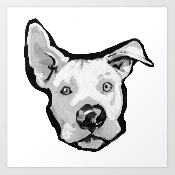 RESCUE ME Pit Bull Pitbull Dog Pop Art black and White Painting by LEA Art  Print by wilddogs