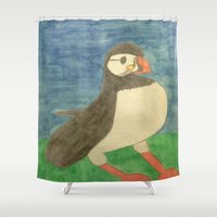 puffin Shower Curtains featuring Puffin by Danielle Gensler