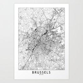 Brussels White Map Art Print