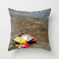 hindu Throw Pillows featuring Bali - Hindu Prayer Offering by gdesai
