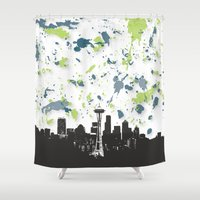 seahawks Shower Curtains featuring Seahawks Seattle Skyline by Blythe Green