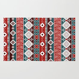 Colorful Aztec pattern with red. Rug