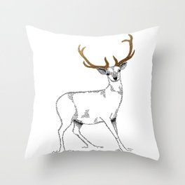 Golden deer Throw Pillow