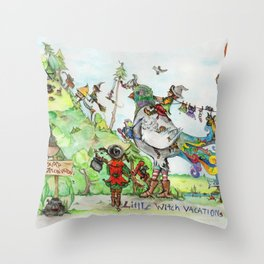 Little Witch Vacation Throw Pillow