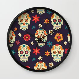 Colorful sugar skuls pattern Wall Clock