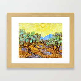 12,000pixel-500dpi - Vincent van Gogh - Olive Trees with yellow sky and sun - Digital Remastered Framed Art Print