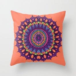 Groovy Dayglo Boho Mandala Throw Pillow