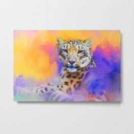 Colorful Expressions Snow Leopard Metal Print