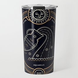 Aquarius Zodiac Golden White on Black Background Travel Mug