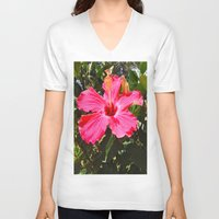 hibiscus V-neck T-shirts featuring Hibiscus by floridagurl