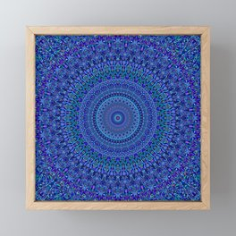 Blue Floral Ornate Mandala Framed Mini Art Print