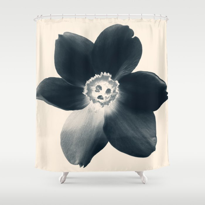 Cyan Narcissus Shower Curtain