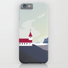 Iceland Vik Church Travel Poster iPhone Case