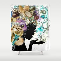 child Shower Curtains featuring Sea Child by Jenndalyn