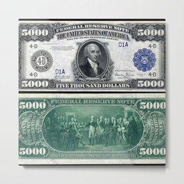 1918 James Madison $5,000 Federal Reserve Bank Note Metal Print