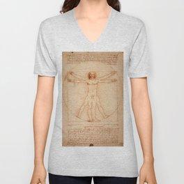 Vitruvian Man (c. 1490) Unisex V-Neck