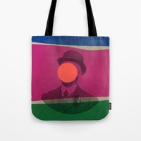magritte Tote Bags featuring Magritte by Naomi Vona
