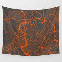 rome Wall Tapestries featuring Rome Map by Map Map Maps