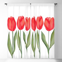 Red Spring Tulips Watercolor Flowers Blackout Curtain