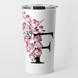 Letter 'F' Freesia Flower Typography Travel Mug