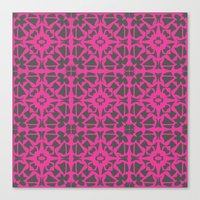 gray pattern Canvas Prints featuring Magenta Gray pattern by xiari