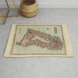 Vintage St Lucia Island Map (1823) Rug