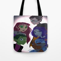 teen titans Tote Bags featuring Teen Titans by Angie Nasca
