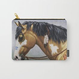 Native American Buckskin Pinto War Horse Carry-All Pouch