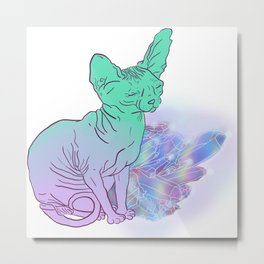 Cat With Crystals Sketch Metal Print