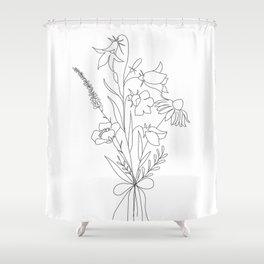 Small Wildflowers Minimalist Line Art Shower Curtain