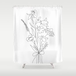 Small Wildflowers Minimalist Line Art Shower Curtain