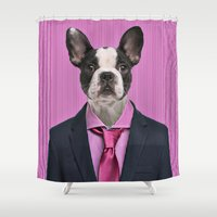 french bulldog Shower Curtains featuring French bulldog by Life on White Creative